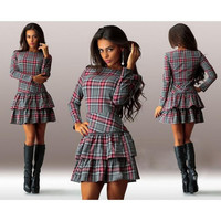 Gray and Red Plaid Long Sleeve Layered Dress