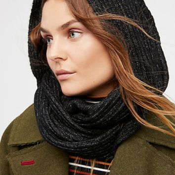 Bottom Line Hooded Rib Cowl Scarf - Black by Free People