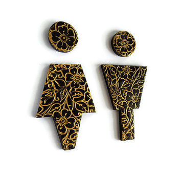 Black and Gold Bathroom Male Female Sign, Gold Bathroom Accessories, Floral Home Decor, Guest Bathroom Sign, Washroom Sign