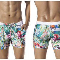 0604 Tropical Colombia Swimsuit Trunk Color White