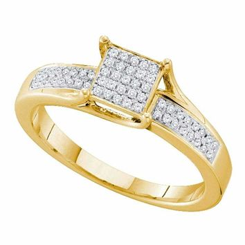 10kt Yellow Gold Women's Round Diamond Elevated Square Cluster Ring 1-6 Cttw - FREE Shipping (USA/CAN)