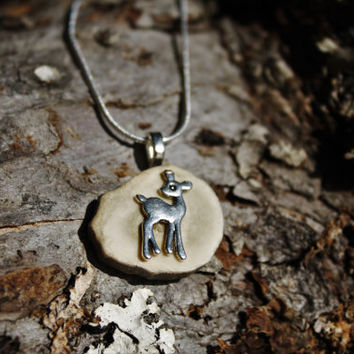 """Deer antler necklace deer pendant deer charm with vintage button deer button on a beautiful silver chain 20"""""""