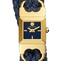Tory Burch Gemini Link Square Leather Strap Watch, 18mm | Nordstrom