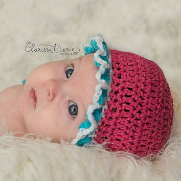 Crochet Girl Bonnet,  Newborn Vintage, Etsy Infant Gift, Retro Baby hat, Cap with ruffles, Floral Accent, Prop for Newborn, New Baby Shower