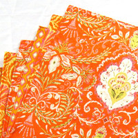 Large Cloth Placemats - Set of 6 - Red Orange Yellow Ikat- Variety, Assorted, Mismatched - Reversible