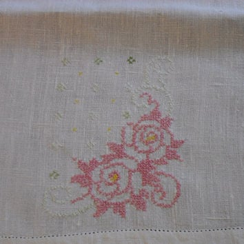 Linen Tea Towel | Cross Stitched Pink Flowers | Crocheted Edge