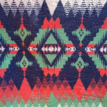 Vintage Southwestern Camp Blanket / Throw / Soft Cozy / Reversible / Aztec / Mexican Details / Pink, Purple Seafoam Green / Statement Decor