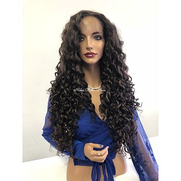 Brown Curly SWISS lace front wig - Tangela 51834