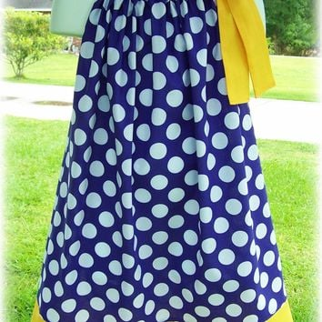 Custom Boutique Clothing Girls Dress Purple and White Polka Dot  LSU Tigers Tunic Pillowcase Dress, Size 3mos to 8yr