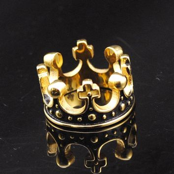 Dolaime 2016 Hot  Gold Color Stainless Steel Ring Crown King Mens Rings Wedding Jewelry Domineering