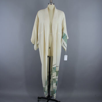 SALE - 1970s Vintage Silk Kimono Robe / 70s Silk Wedding Dressing Gown Lingerie / Downton Abbey Art Deco / Ivory Green Watercolor