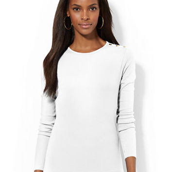 Lauren Ralph Lauren Petite Buttoned Shoulder Top