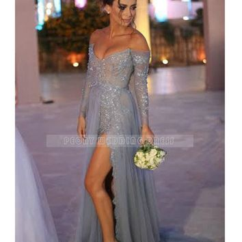 RM21 Sexy Sliver Tulle Lace Prom Dress Strapless Long Sleeve High Slit Detachable Train Prom Dresses Evening Party Dress