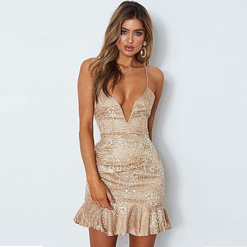Party Girl Deep V Dress