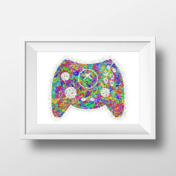 Gaming Poster, XBox Duke Controller, Color Splatter, Retro Print