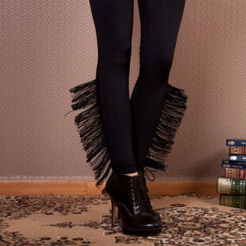 Black Tassel Leggings,Black Leggings with tassels