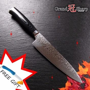 NEW 8 Inch Damascus Chef Knife High Quality 67 Layers VG-10 Japanese Damascus Steel Kitchen Knives Cooking Tools Free Gift