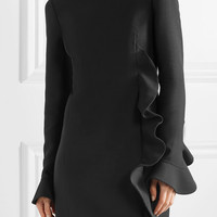 Valentino - Ruffled wool and silk-blend mini dress