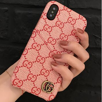 GUCCI Tide brand card couple models iPhone7plus leather protective cover F0708-1 Pink