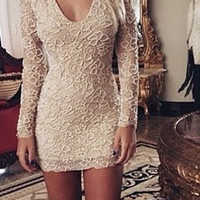 White Long Sleeve Mini Lace Dress