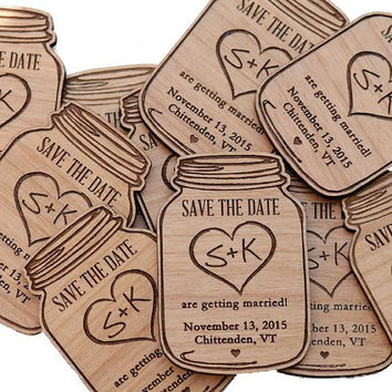 Mason Jar Wood Save the Date Magnets - Wedding Favor - GIft Tag - Laser Cut and Etched on Woo