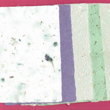 "Handmade Paper, Deckle Edge, 5 Sheets, 5""x  7"", Purple, Green, Ivory, Flowers, Textured, Writing, Deckle, Scrapbook, Fancy Paper, Recycled"