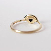 Hidden Heart Ring with Onyx and Pave Diamonds - Alternative Engagement Ring - 18k Solid Gold