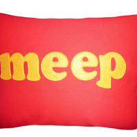 MEEP Pillow Yellow Text on Tangerine Orange by PillowThrowDecor