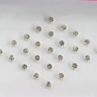 60 SPARKLY Stick On Fake Nose Studs/Silver Fake Nose Labret Monroe Ear Studs/Sel