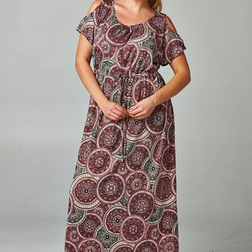 Women's Plus Size Cold Shoulder Printed Tie Waist Maxi Dress