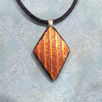 Diamond Shaped Necklace, Orange Dichroic Pendant, Halloween Autumn, Kite, Fused Glass Jewelry - Let's Go Fly a Kite - -5