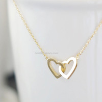 Double hearts necklace, Two hearts necklace, gold entwined hearts, gold filled chain, small gold twin hearts, dainty petite simple modern