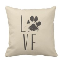 Love with Pet Paw Print Brown Grunge Typography Throw Pillow