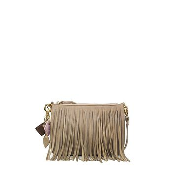 Willow Fringe Leather Handbag in Tan