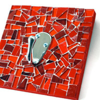 Red Mosaic Coat Hook by GreenStreetMosaics on Etsy