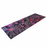 "Marianna Tankelevich ""Black Flowers"" Pink Purple Yoga Mat"