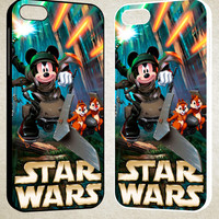 mickey mouse at starwars F0521 iPhone 4S 5S 5C 6 6Plus, iPod 4 5, LG G2 G3, Sony Z2 Case