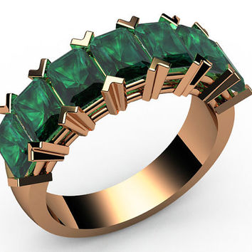 7th anniversary gift 5 carat Emerald Ring Half Eternity ring 7 stones 18K Yellow White or Rose gold Jewelry