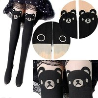 Sanwood Women's Cute Teddy Print Thigh-high Socks Bear Tattoo Stocking Black