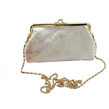 Vintage With A Twist of Sparkles!  Beautiful Crossbody Clutch With Pretty Gold Chain Strap  WHITE