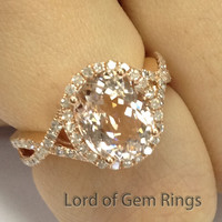 8x10mm Oval Pink Morganite Diamonds Engagement Ring Halo in 14K Rose Gold 0.4ct