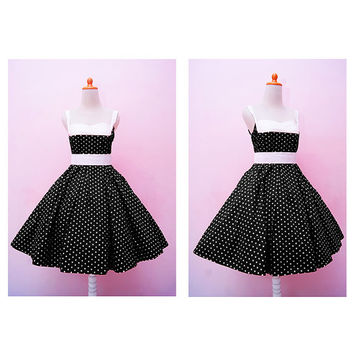 Vintage Black Polka dot Halter Swing Rockabilly Dress, Plus Size Pin Up 50s Girl Party Dress