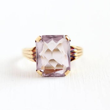 Vintage Amethyst Ring - 10k Rosy Yellow Gold Rose De France 2.62 CT Gem - 1940s Size 6 1/4 Emerald Cut Light Purple Genuine Gem Fine Jewelry
