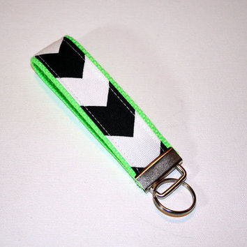 Key FOB / KeyChain / Wristlet  - Black Chevron Zig Zag on Lime green