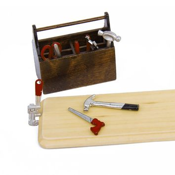 MACH 1/12 Dollhouse Miniature Wooden Box with Metal Tool Set