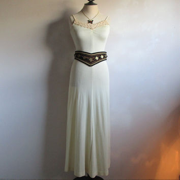 Vintage Cream 1970s Dress Shimmer Column Summer Maxi Casual 70s Nylon Knit Jersey Dress XSmall