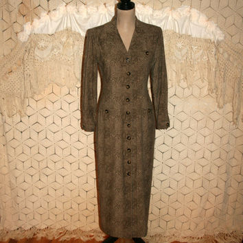 Vintage 80s Long Sleeve Dress Fall Winter Button Up Maxi Edwardian Duster Coat Brown Fitted Petite Size 4 Size 6 Small Dress Womens Clothing