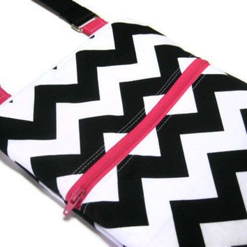 Black white Chevron pink zipper sling purse cross body bag adjustable strap