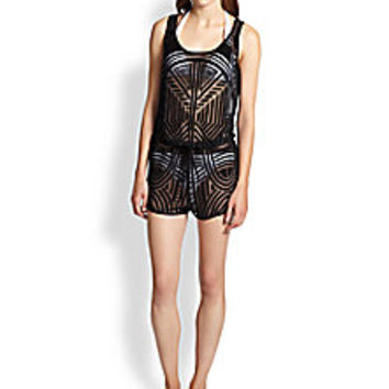 Tt Collection - Printed Sheer Short Jumpsuit Coverup - Saks Fifth Avenue Mobile