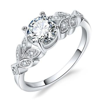 Silver Color Crystal Flower Wedding Rings For Women Jewelry Bague Bijoux Rose Gold Color Femme Engagement Ring Accessori